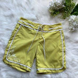 Athleta Mustard Yellow Floral Swim Shorts